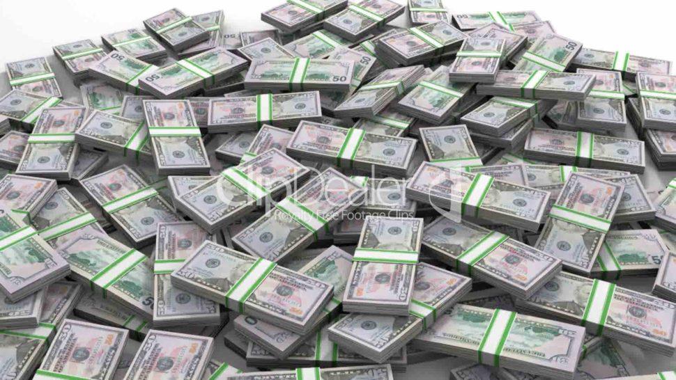 dolarovky v paklících na velké hromadě