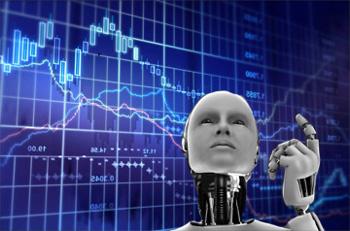 bílý trading robot a v pozadí graf forexu