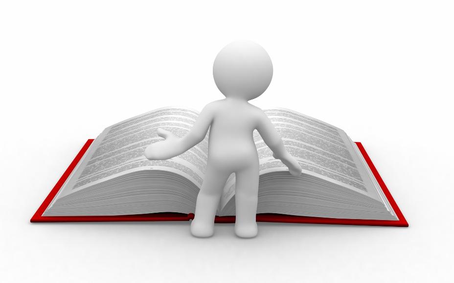 grafika bílého panáčka listující velkou červenou knihou