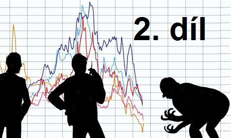 grafika 3 mužu koukajících na graf vývoje trhu a přičemž poslední lamentuje nad klesajícím trendem