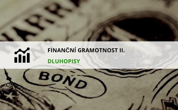 název článku v popředí a obrázek dluhopisu v pozadí