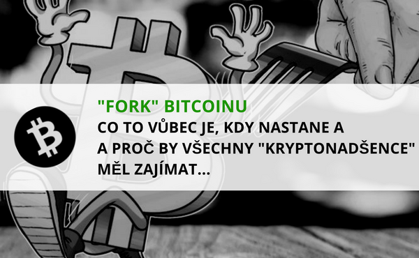 název článku v popředí a symbol Bitcoinu utíkající před napíchnutím na vidličku